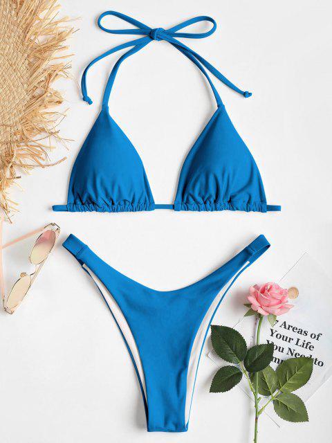Hochgeshcnittenes Halfter Kirsch Bikini Set - Blau M Mobile
