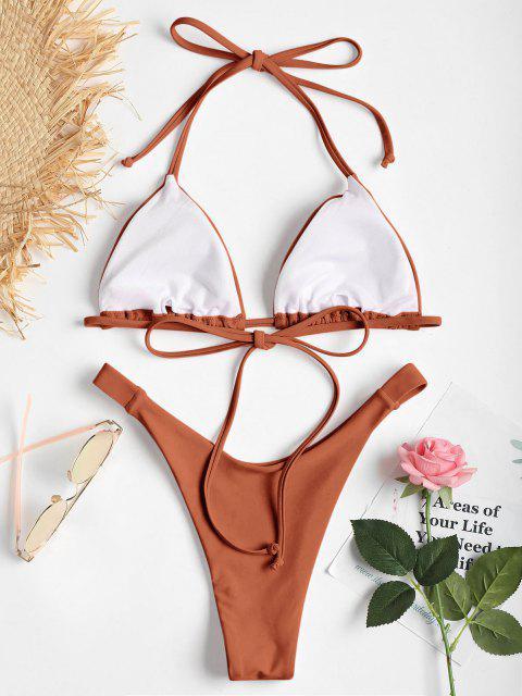 Hochgeshcnittenes Halfter Kirsch Bikini Set - Kaffee L Mobile