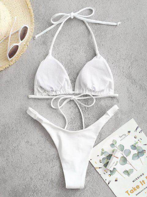 outfit Cheeky Halter High Cut Bikini Set - WHITE L Mobile