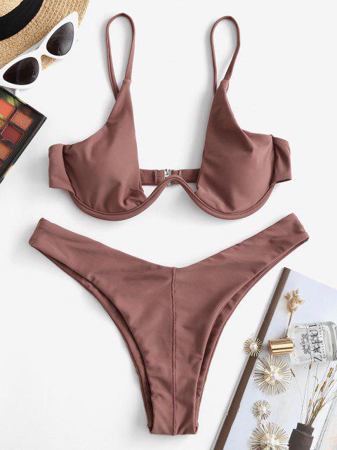 Bikini A Gamba Alta Con Ferretto Di ZAFUL - Seppia M Mobile