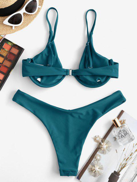outfit ZAFUL High Leg Underwire Bikini Set - PEACOCK BLUE M Mobile