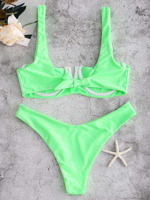 latest ZAFUL Underwire Smocked Bikini Set - EMERALD GREEN M Mobile