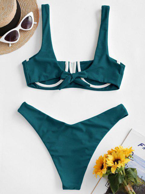 sale ZAFUL Underwire Smocked Bikini Set - PEACOCK BLUE S Mobile