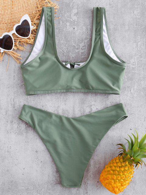 shops Lace Up Padded Bikini Set - CAMOUFLAGE GREEN M Mobile