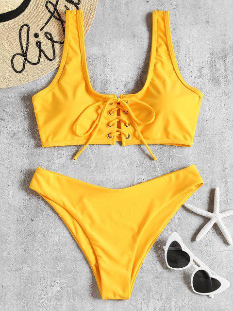 Conjunto de Biquíni Acolchoado com Enlaçado - Amarelo Brilhante S Mobile