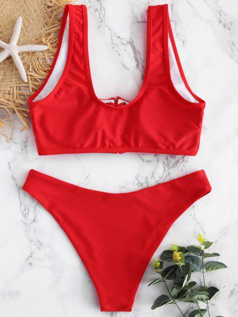 Bikini en Ensemble Rembourré et à Lacets - Rouge Amour L Mobile