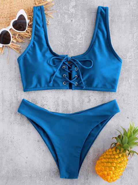 Bikini Imbottito con Lacci - Blu Marino  S Mobile