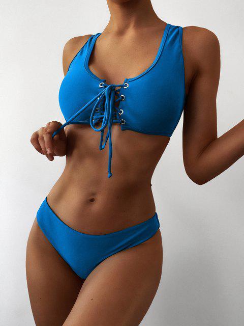 shop Lace Up Padded Bikini Set - OCEAN BLUE S Mobile