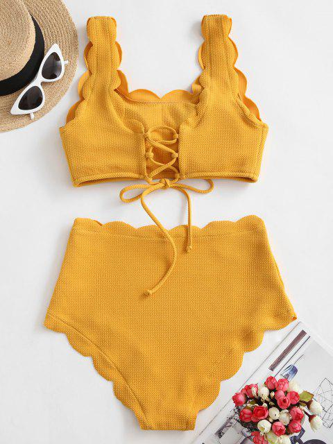 affordable ZAFUL Scalloped Textured High Waisted Bikini Set - GOLDEN BROWN XL Mobile