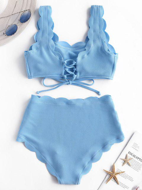 women ZAFUL Scalloped Textured High Waisted Bikini Set - DAY SKY BLUE XL Mobile