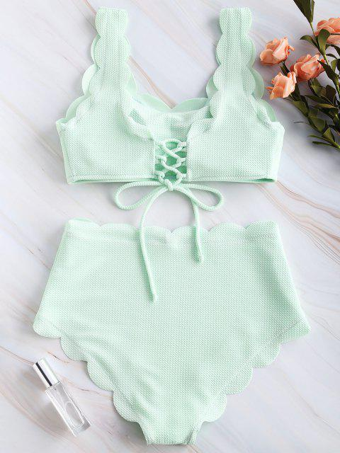outfit ZAFUL Scalloped Textured High Waisted Bikini Set - MINT GREEN XL Mobile