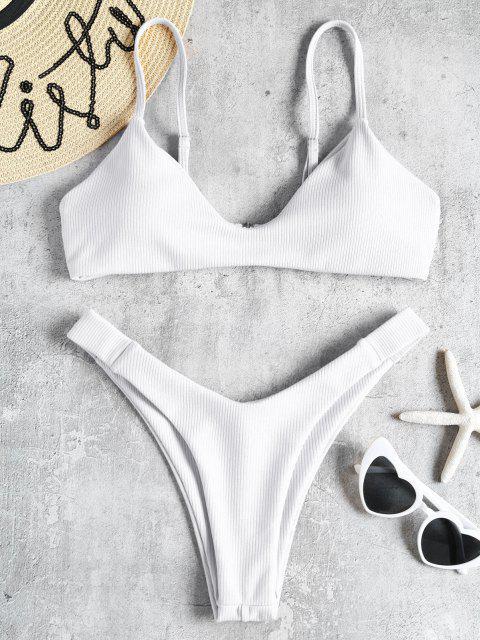 unique High Leg Ribbed Bikini Set - WHITE S Mobile