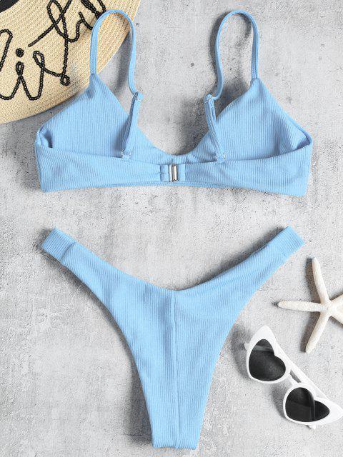 Bikini en Ensemble Jambes Hautes et à Nervures - Bleu Ciel Léger  L Mobile