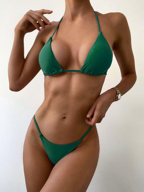 women ZAFUL Halter String Bikini - MEDIUM FOREST GREEN M Mobile