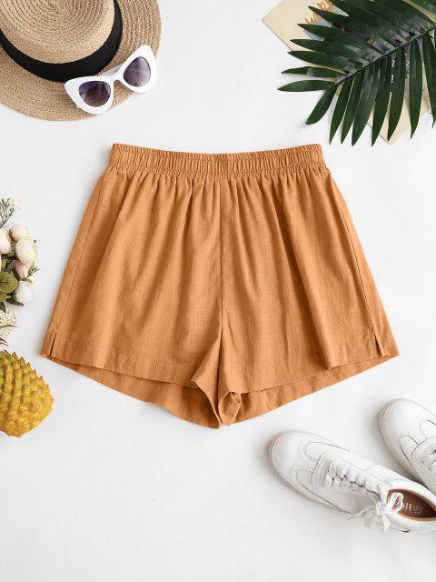 buy ZAFUL Back Pockets Spilt Side Basic Shorts - COFFEE XL Mobile