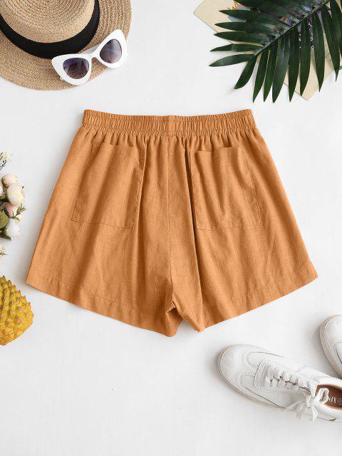 ladies ZAFUL Back Pockets Spilt Side Basic Shorts - COFFEE L Mobile