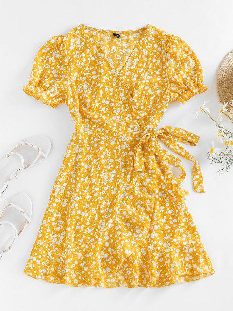 lady ZAFUL Ditsy Print Puff Sleeve Ruffle Belted Dress - YELLOW S Mobile