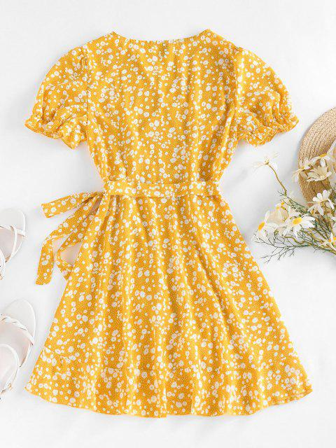 affordable ZAFUL Ditsy Print Puff Sleeve Ruffle Belted Dress - YELLOW M Mobile