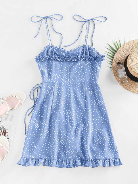 fashion ZAFUL Polka Dot Ruffle Tie Shoulder Overlap Dress - BLUE L Mobile