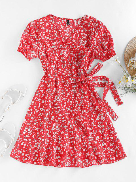 ZAFUL Ditsy Print Puff Sleeve Ruffle Belted Dress - أحمر M Mobile