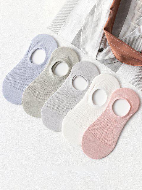 5 Paia di Calze Ricamate a Fessure su Entrambi I Lati - Multi Colori-A  Mobile