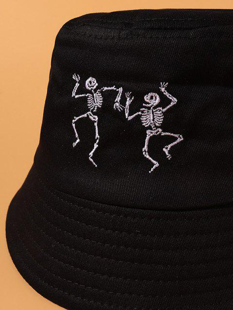 fancy Skeleton Embroidered Cotton Casual Bucket Hat - BLACK  Mobile