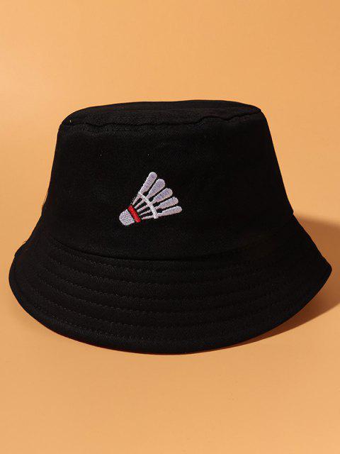 Badminton Embroidery Casual Cotton Bucket Hat - أسود  Mobile
