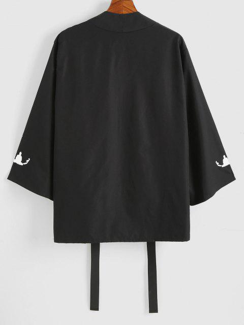 women's Hanzi Print Open Front Kimono Cardigan - BLACK L Mobile
