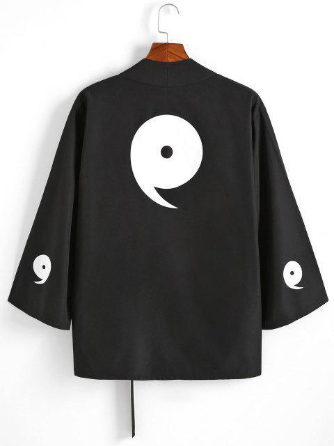shops Note Print Buckle Strap Kimono Cardigan - BLACK M Mobile