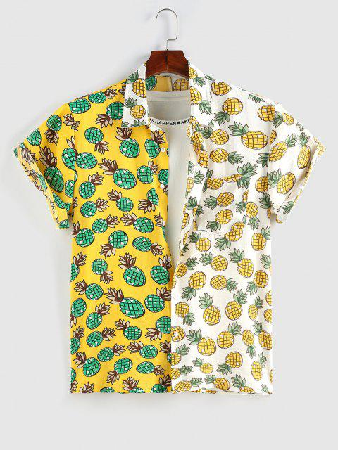 ZAFUL Cartoon Ananasdruck Kontrast Taschen Hemd - Gelb XL Mobile