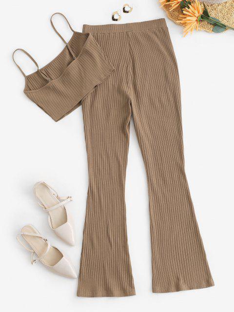 ZAFUL Conjunto de Pantalones Acanalado de Bolsillo y Canalé - café L Mobile