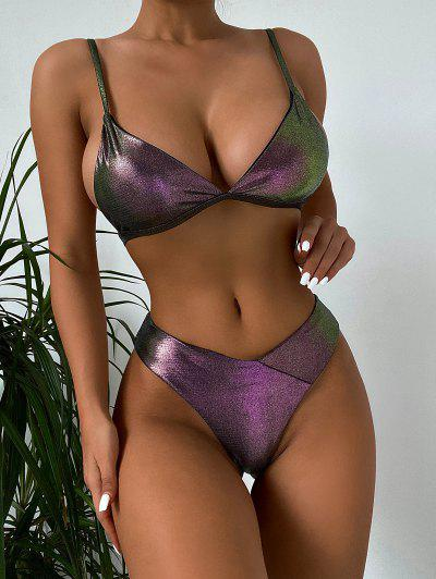 ZAFUL Glitter Disco Wet Look Bikini Swimwear - Eggplant M