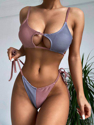 ZAFUL Colorblock Ribbed Cutout String Bikini Swimwear - Light Brown M