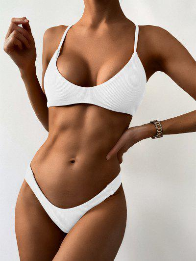 High Leg Ribbed Bikini Set - White S