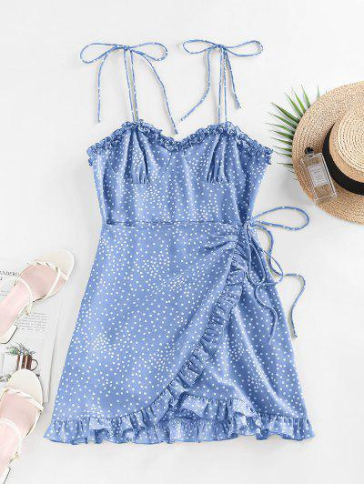 ZAFUL Polka Dot Ruffle Tie Shoulder Overlap Dress - Blue L