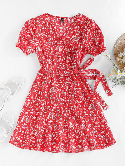 ZAFUL Ditsy Print Puff Sleeve Ruffle Belted Dress - Red S