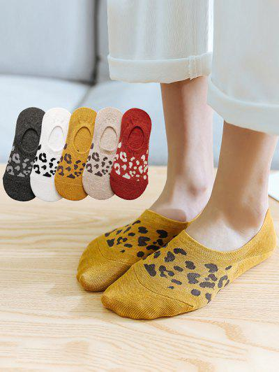 5 Pairs Leopard Print Non-Slip No-Show Socks - Multi-a