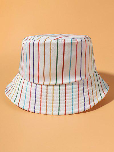 다채로운 스트라이프 프린트 캐주얼 양동이 모자 - 베이지 색의