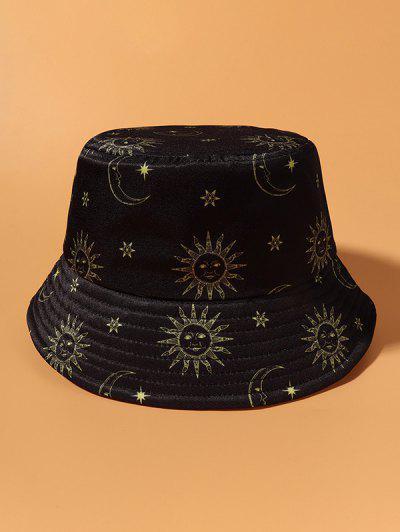 Sun Moon Star Print Casual Bucket Hat - Black
