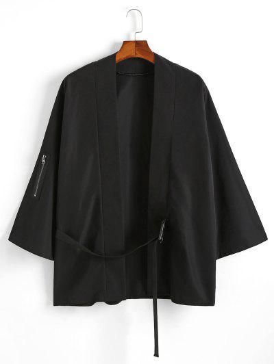 Note Print Buckle Strap Kimono Cardigan - Black M