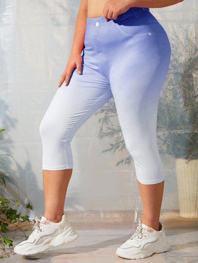 Plus Size 3D Print Ombre Capri Leggings - Blue 5x