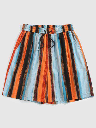 ZAFUL Colorful Striped Print Beach Shorts - Light Blue Xl