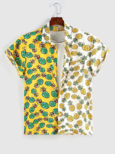ZAFUL Cartoon Pineapple Print Contrast Pocket Shirt - Yellow Xxl