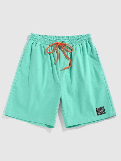 ZAFUL Letter Patch Contrast Drawstring Shorts - Light Green M