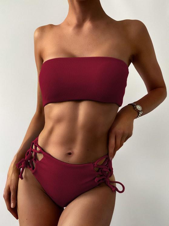 womens ZAFUL Lace Up Ribbed Strapless Bikini Set - RED WINE M