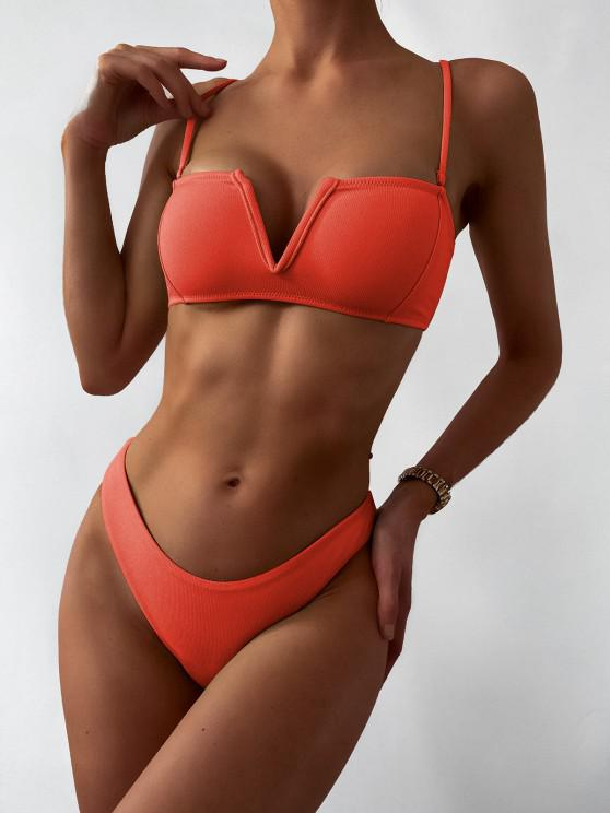 shop ZAFUL Textured V-wired Bandeau Bikini Swimsuit - ORANGE M