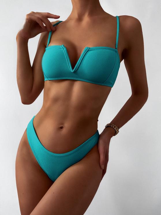ZAFUL Textured V-wired Bandeau Bikini Swimsuit - ديب غرين S