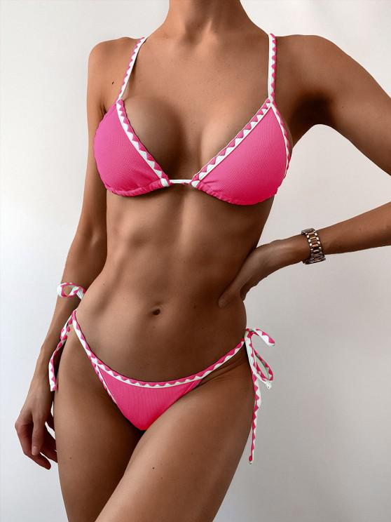 online ZAFUL Textured Whip Stitch String Bikini Swimsuit - HOT PINK S