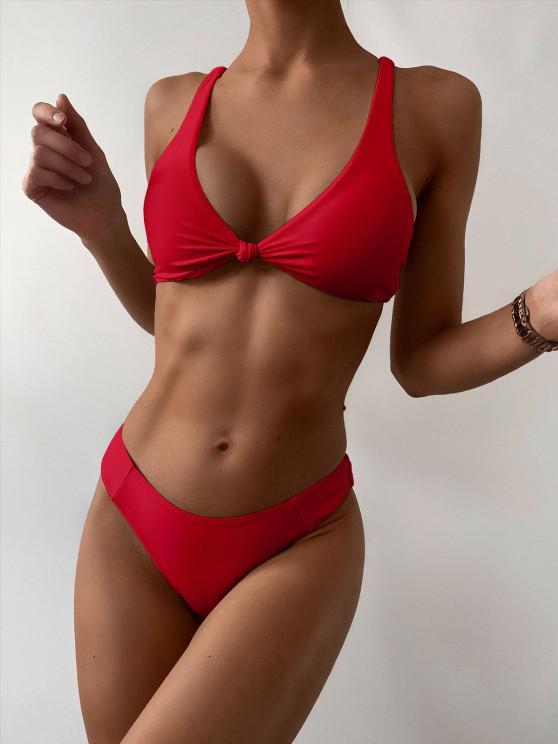 trendy ZAFUL Bow High Leg Bikini Swimsuit - LAVA RED S