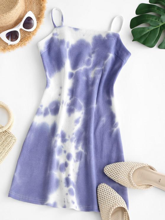 Vestido Grueso de Tirantes Finos con Textura de Teñido Anudado - Azul claro S